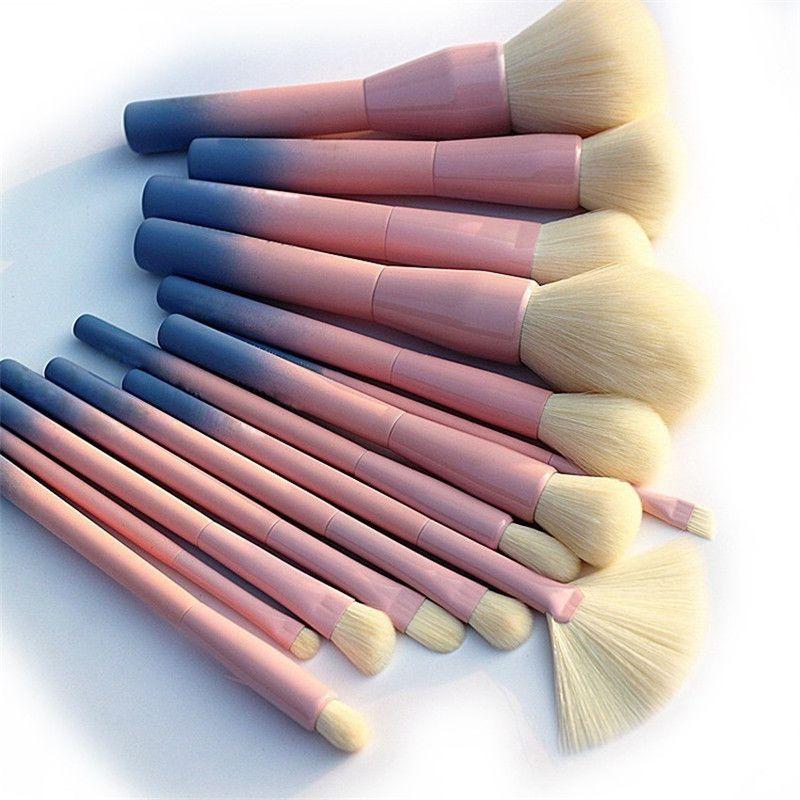 Gradient Makeup Brushes Set 14pcs Professional Foundation Powder Eyeshadow Make Up Brushes Tools Eyeliner Blush Cosmetic Brush Kits