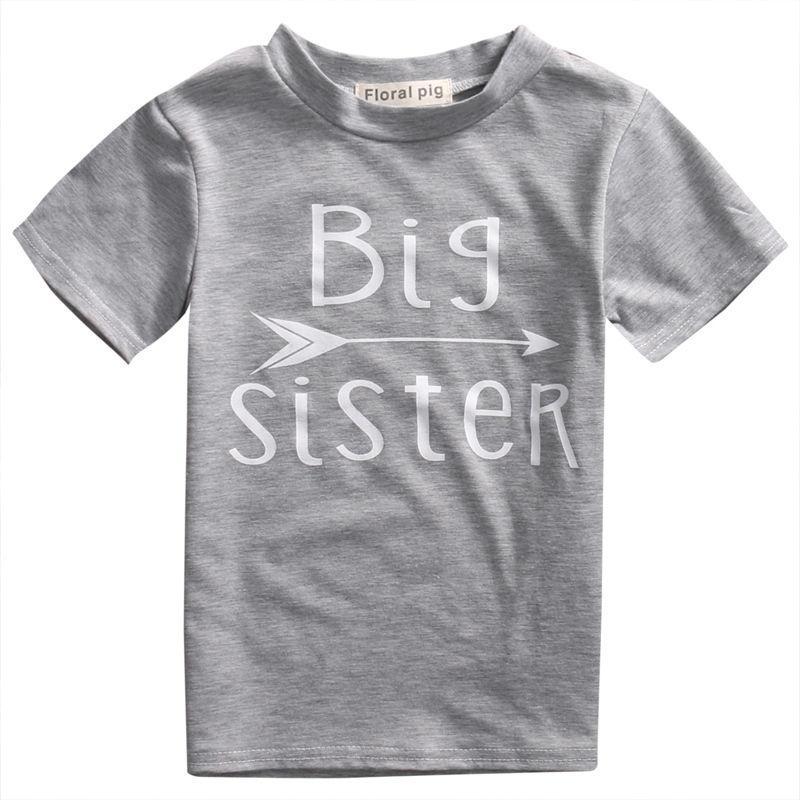 Pudcoco Baby-Kind-Mädchen-Jungen Kurzarm Baumwolle T-Shirts Top Brief drucken Big Brother Schwester
