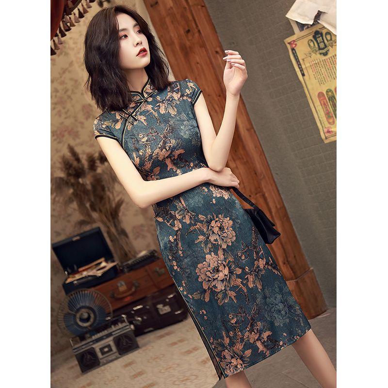Verbesserte Cheongsam Frauen im chinesischen Stil Sommer New Daily Life Printed Qipao Nobility Mädchens Chinese Kleid
