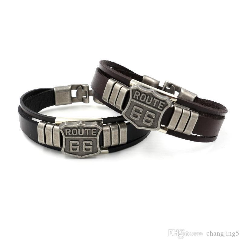 Brazaletes de cuero para hombre de la moda RUTA 66 pulseras del encanto del remache del punk retro multicapa para regalos de la joyería mujeres de los hombres del manguito de los brazaletes