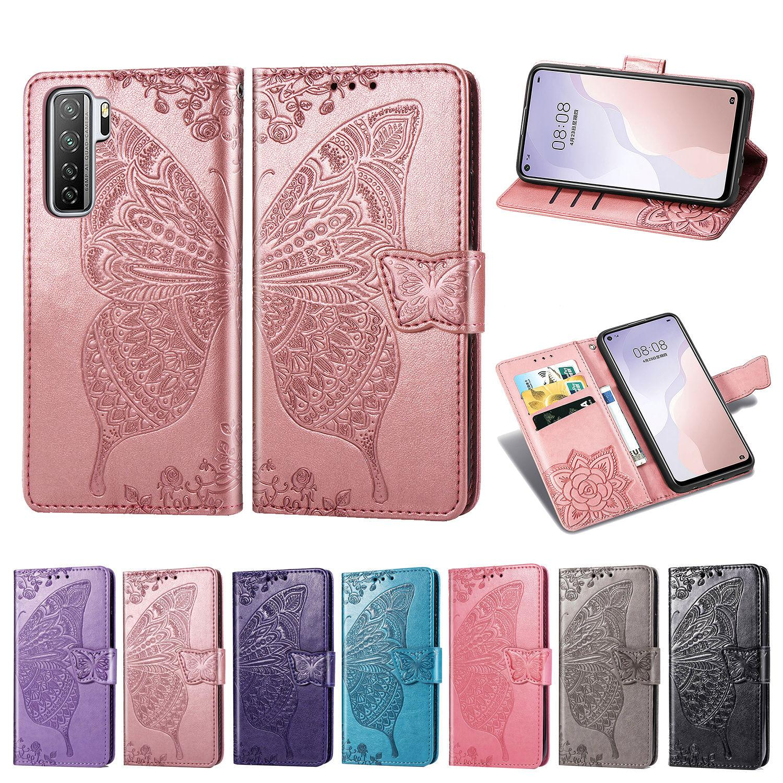 Pour Huawei Nova 7 Se Phone Case Cover PU carte de portefeuille en cuir Porte-fleur papillon avec Dragonne (Modèle: Nova7Se)
