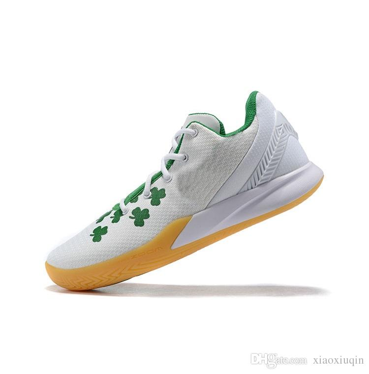 Mens kyrie flytrap 2 basketball shoe White Gum Green Floral Wolf Grey youth kids kyries irving low cut sneakers tennis with box size 7 12