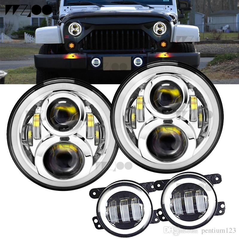 """7"""" Inch Round LED Halo Headlight Bulb Lamp For JK TJ LJ H1 H2 LED Headlamp Projector DRL For car"""