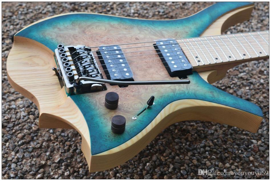 مصنع مخصص الجملة أفضل سعر. الجديد 7 سلسلة أسلوب مقطوعة الرأس الغيتار الكهربائي انفجار الأزرق القيقب الأعلى مع بعلامات لهب القيقب الرقبة، custo ل