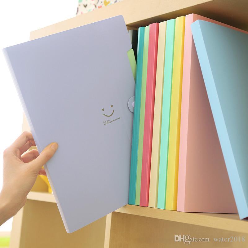 A4 KAWAII Carpetas اللوازم الإيداع ابتسامة ملف ماء مجلد 5 طبقات حقيبة وثيقة مكتبية 4 اللون