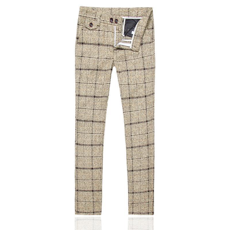 Men's Suits & Blazers Winter Suit Pants Size S-5XL, Fashion Business Casual Trousers Yellow Navy Blue Black Striped Plaid Male