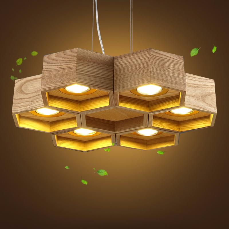 Holz Pendelleuchte Honeycomb Kronleuchter Nordic Antike hölzerne Auf Massivholz-Licht-Bar Café Kleine Kronleuchter Gegründet