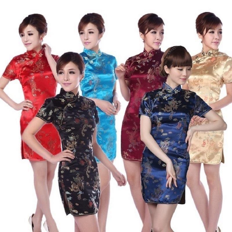 Sıcak satış! Retro mordern Seksi Çin tang elbise Qipao kostümleri, ejderha Phoenix kısa cheongsam elbiseler Çin geleneksel elbise C18122701