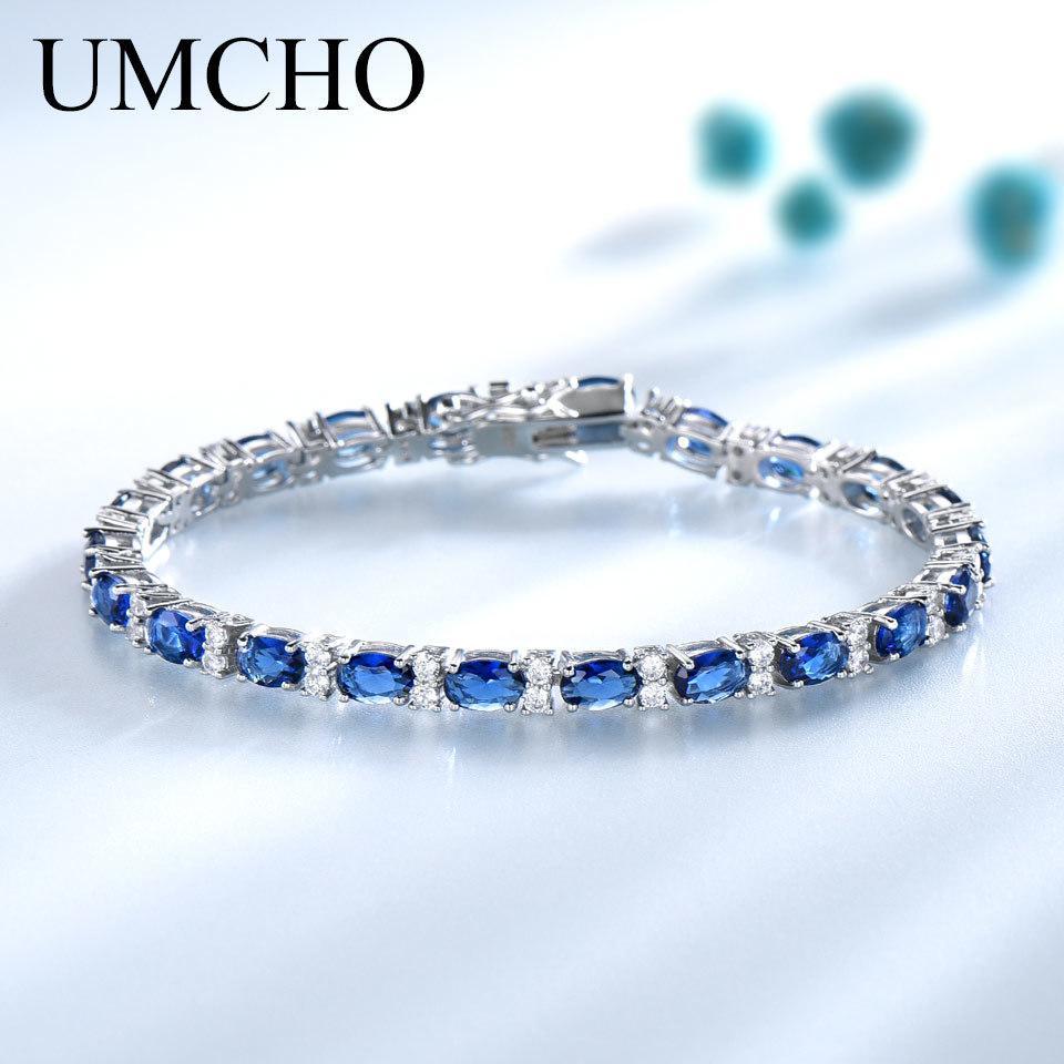 UMCHO azuis Pulseiras Espinela para as Mulheres Friendship925 Sterling Silver Jóias Romantic Birthstone Gemstone Tennis Bracelet Jóias CX200613