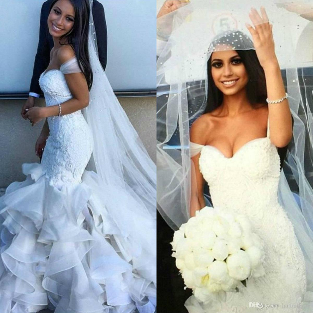 2019 New Luxury Mermaid Wedding Dresses Off Shoulder Lace Appliques Crystals Beaded Tiered Ruffles Sweep Train Organza Formal Bridal Gowns