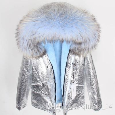 2018 maomaokong Марка светло-голубой енот меховой отделкой толстовка женщины снег пальто светло-синий кролик меховая подкладка серебро мини парки Швеция