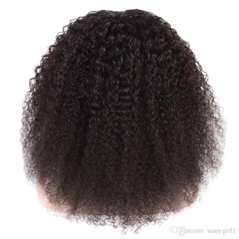 Sassygirl Kinky Curly Wig With Baby Hair Brazilian Lace closure Human Hair Wigs For Black Women 150% Density Curly wigs 8-18 inch