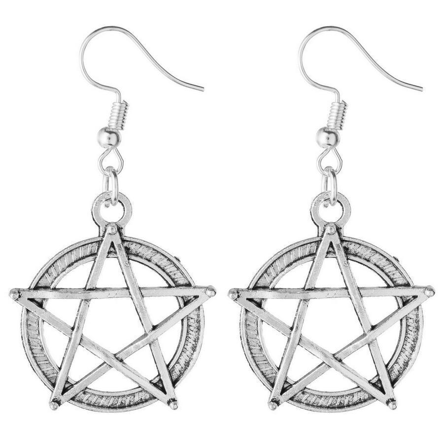 Encantos Pendientes Pentagram 50pair Silvers de la vendimia del oído Gancho de pescados gota para el oído Pendientes de Supernatural gótico para el regalo de la joyería del vestido de las mujeres