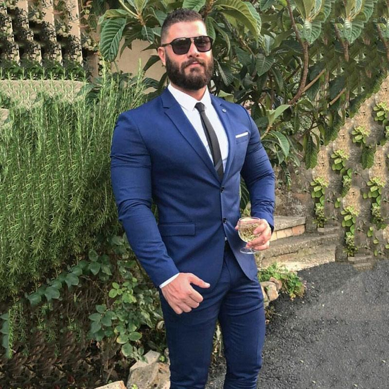2020 Classic Blue Suits Men Groom Tuxedo for Wedding Business Man Wear Man Blazer 2 Pieces(Jacket+Pant) Slim Fit Terno Masculino