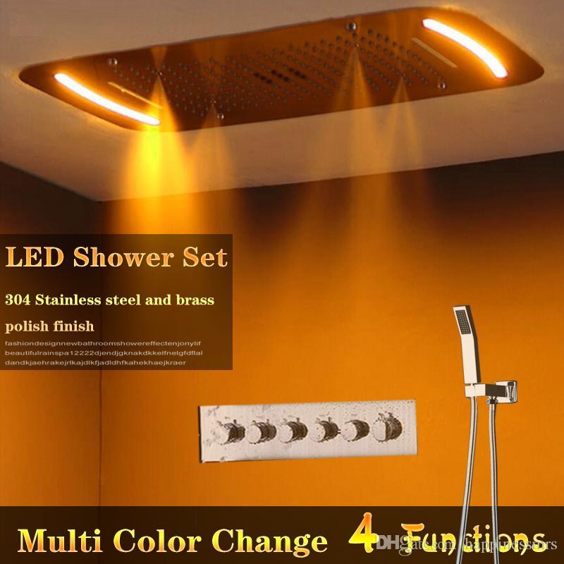 Multi função escondida Shower Set teto montado chuva, cachoeira, cortina, Spa Névoa cabeça de chuveiro quente alta fluxo chuveiro válvula misturador conjunto