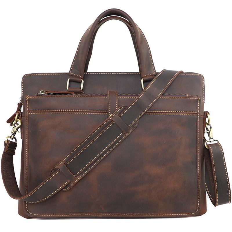 Pure Handmade Crazy Horse Leather Men Business Briefcase Vintage Genuine leather Shoulder Bag Casual Men Handbags