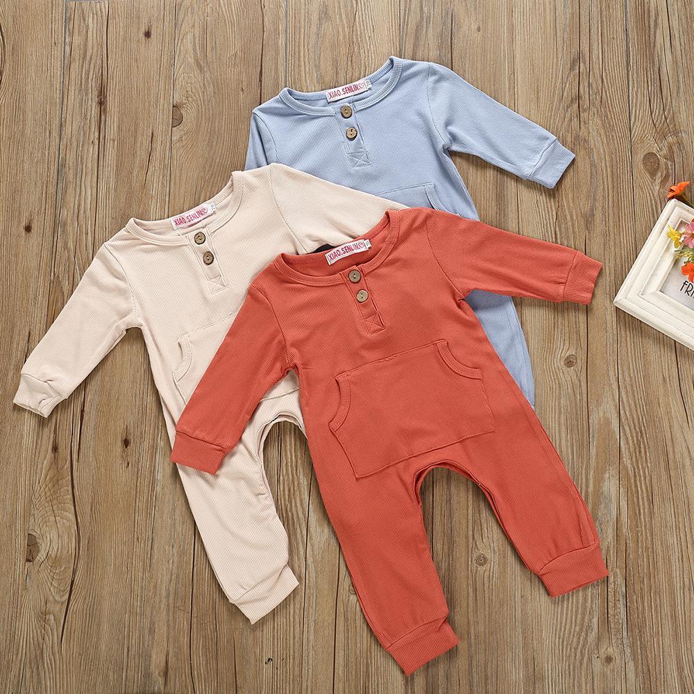3 Renkler Yenidoğan Erkek Bebek Kız Cep Tulum Bebek Katı Renk Uzun Kollu Pamuk Tulumlar Çocuk Giyim M894