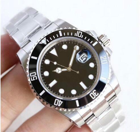 U1 usine montres-bracelets hommes de luxe noir saphir céramique Lunette en acier inoxydable de 40 mm 116610LN 116610 Mécanique Automatique Montre Homme