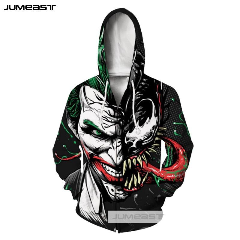 Jumeast 3D Printed The Joker Men/Women Clothes Zipper Hoodies Personality Horror Expression Long Sleeve Jacket Sport Pullover