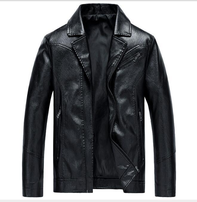 la moda primavera e vestito sottile lavato tuta in pelle giacca di pelle collare giacche tuta sportiva di autunno degli uomini