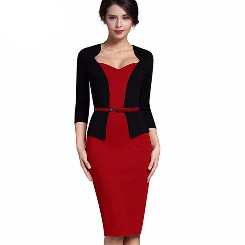 Veste en forme d'une seule pièce élégante Col V-Col V Office Dame Baldycon Femelle 3/4 Manche Sashes Robe de crayon Femme T200526