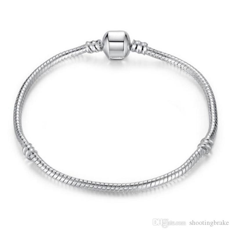 Pulseiras livre transporte de alta qualidade banhado a prata com serpente cadeia de osso de jóias de prata cadeia nu DIY presente