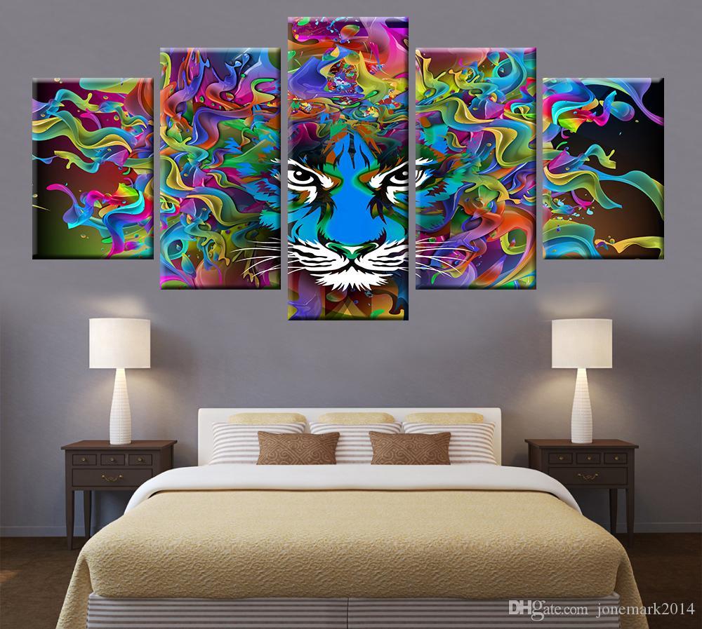 Parete Colorata Camera Da Letto acquista 5 animal pannello colorato tiger ritratto della testa della tela  di canapa pittura poster arte della parete soggiorno camera da letto della