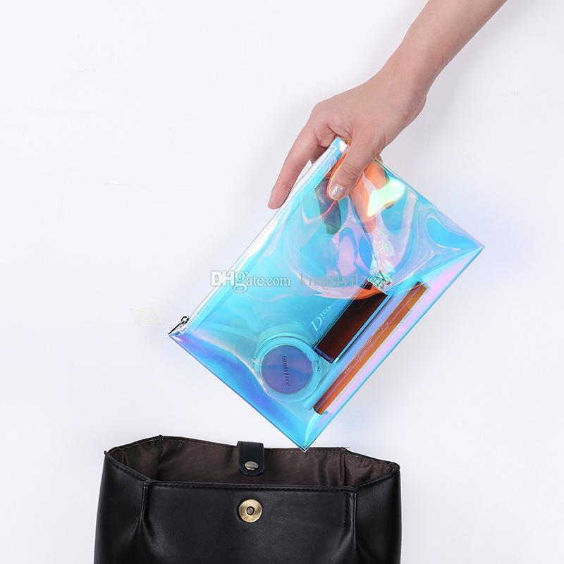 Femmes Laser Cosmétique Sac TPU Holographique Maquillage Sac Étanche Voyage Zipper Femme pour Maquillage-brosse Rouge À Lèvres Accessoires Coloré