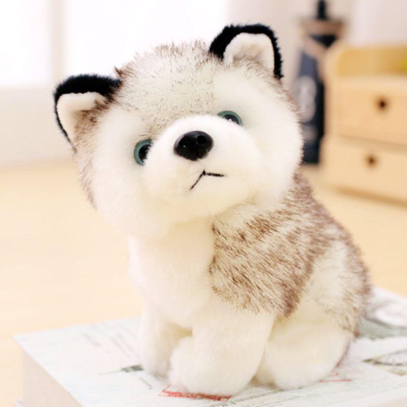 mling de 20cm réaliste Husky chien en peluche oreiller peluche douce Loup Pet Cute Doll Kid Cartoon cadeau oreiller