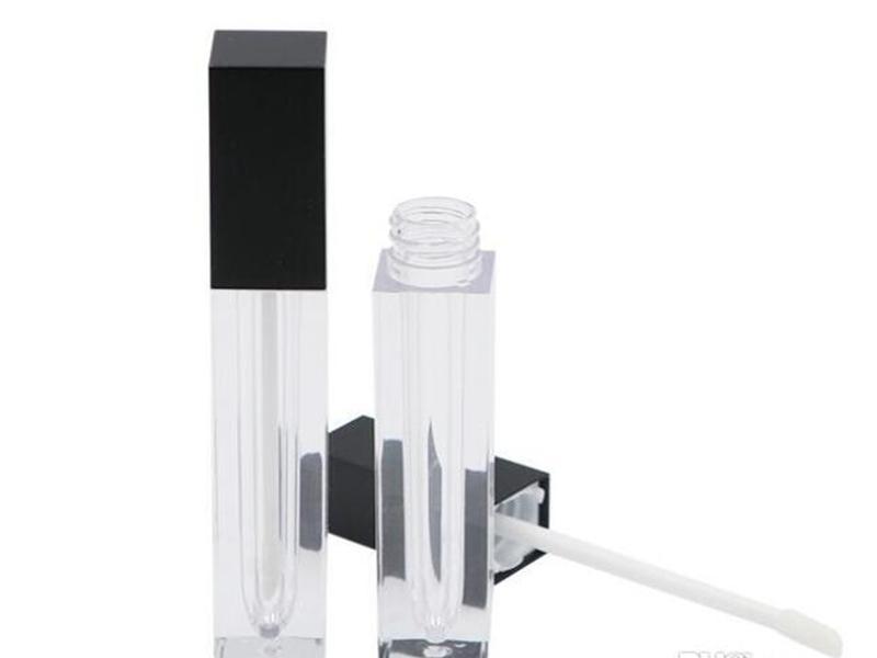 100pcs / lot Lip Gloss tubo vazio 5ML Lip Gloss recipiente de óleo recipiente maquiagem dos lábios tubos de plástico quadrados com preço de atacado