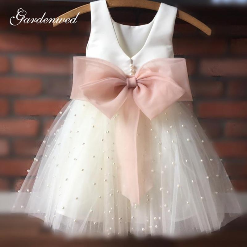 Basit Fildişi Çiçek Kız Elbise İnciler Kare Tül Kızlar Plaj Düğün Elbise Organze Bow Sashes ilk komünyonu Elbise