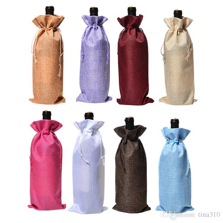 heiße Weinflasche Taschen Champagner Wein Verpackung Geschenk-Beutel Weihnachts Jutefaserbeutel Hochzeit Abendessen Cupholder Weihnachtsdeko 2000pcs T2I5433