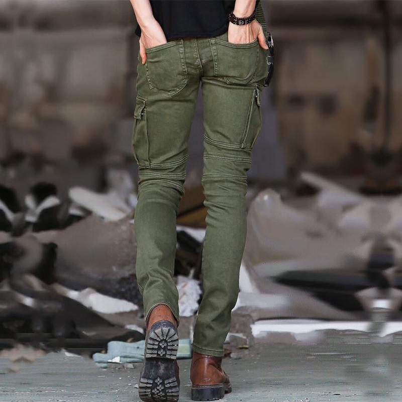 Mode Pantalon Biker Skinny Hommes Motor Zipper plissés Cargo Pants Army Green Slim Fit Male Stretchy Pantalon tactique