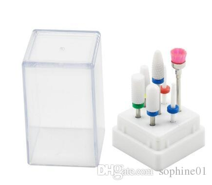 7 pièces Drill à ongles en céramique Bits avec boîte Fraise manucure machine électrique Accessoires Limes Outils d'art