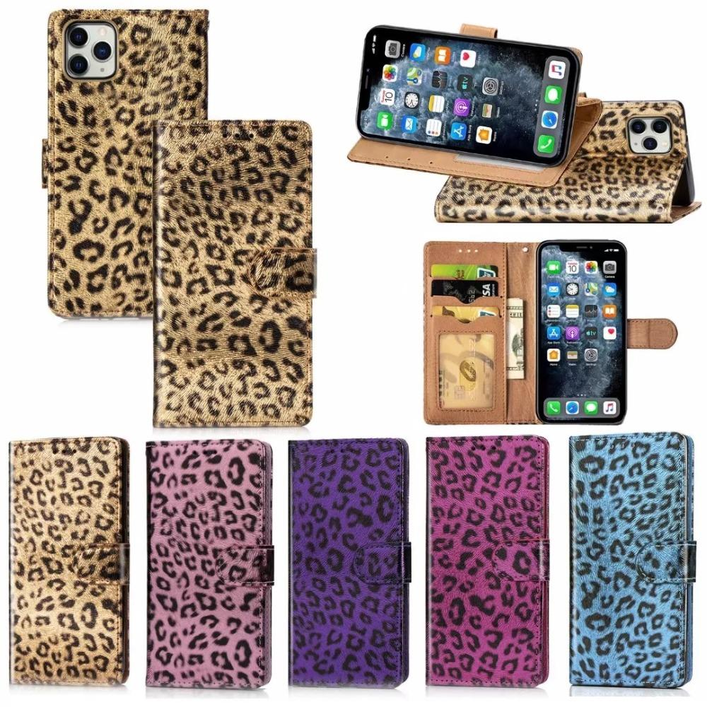 Luxury Fashion Leopard Print Card Slot Holder Flip Wallet Leather Case Cover For iPhone 11 Pro Max XS Max XR X 8 7 6 6S Plus SE