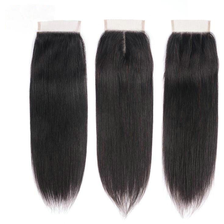 % 100 İnsan Saç Bebek Saç Brezilya Düz Saç Üst Dantel Kapatma Serbest / Orta / Üç Parça Doğal Siyah Renk ile 4X4 Dantel Kapanış