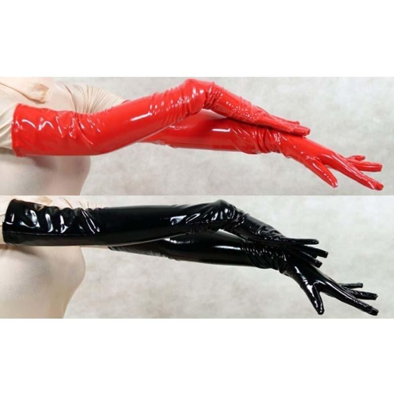 Sexy Women's Long Leather Gloves Five Fingers PVC Gloves Wet Look Opera Length Black Red Unisex Faux Latex Fetish Gothic Gloves T191112
