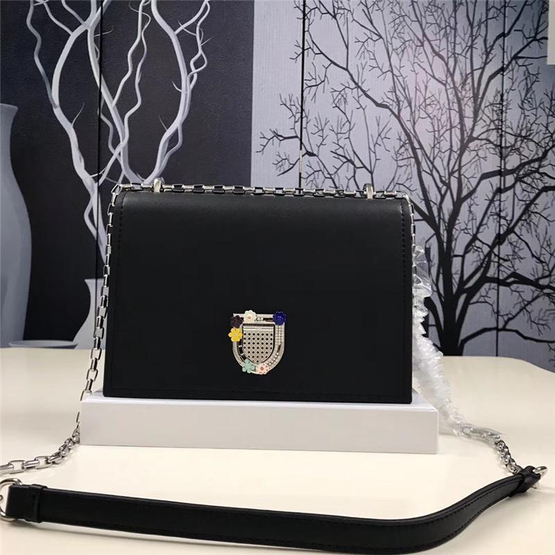 bolsos de hardware de acero de bloqueo original de la flor venta caliente D33 de primera calidad bolsa de mensajero de cuero genuino mujeres crossbody del diseñador