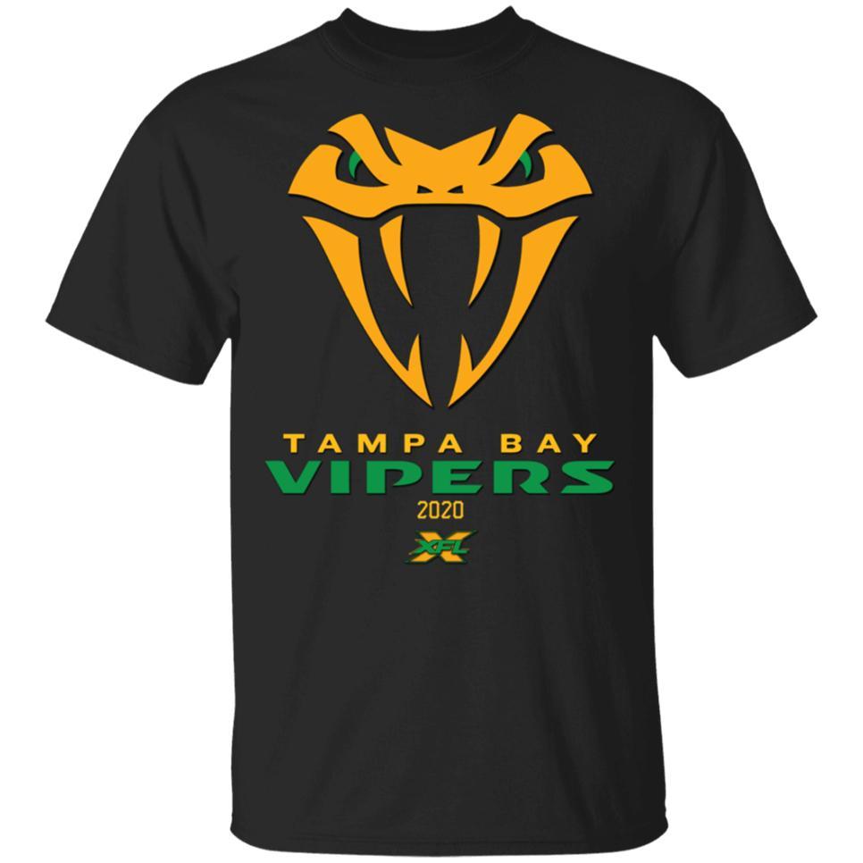 Tampa Bay Vipers Xfl² 2020 Snake T-shirt New Black corta da uomo-donna d'avanguardia Streetwear Tee Shirt