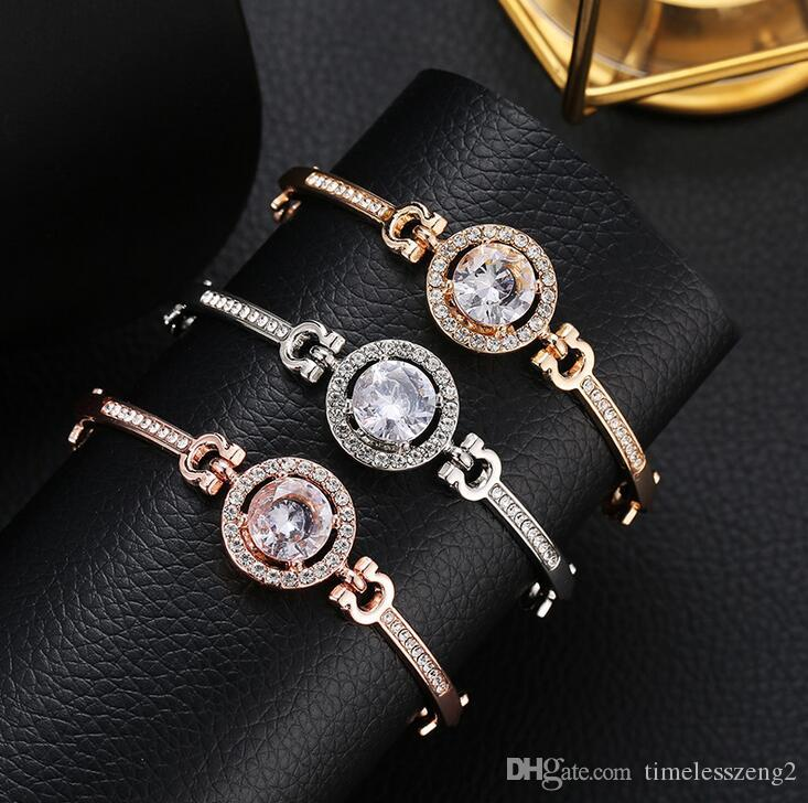 Top Quality Diamond Jewelry Women Bracelets Alloy Bracelet Pave Silver Rose Gold Tone Charms Bangle Jewelry With Fast Shipping
