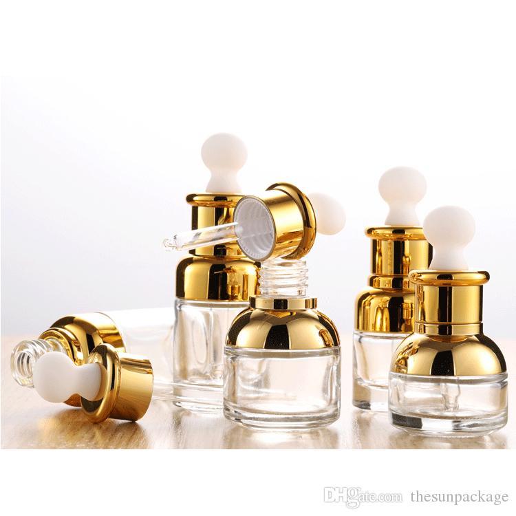 Goldglas-Dropper-Flasche 20 30 50ml Luxus-Serum-Flaschen mit SHinny-Kappe für ätherisches Öl