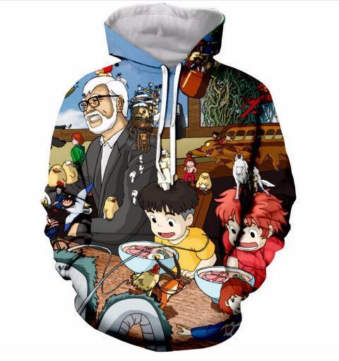 Unisex Hayao Miyazaki Anime Karakter Hoodies 3d Baskı Rahat Hoodie Erkek Kadın Giyim Harajuku Tarzı Kazak Ceketler Marka Kaliteli Ceket