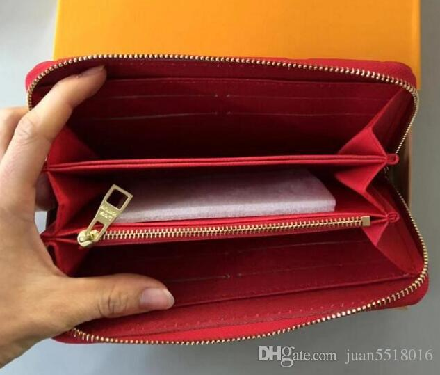 Frete grátis! Embreagem de designer de moda carteira de couro genuíno com caixa de laranja 60015 60017