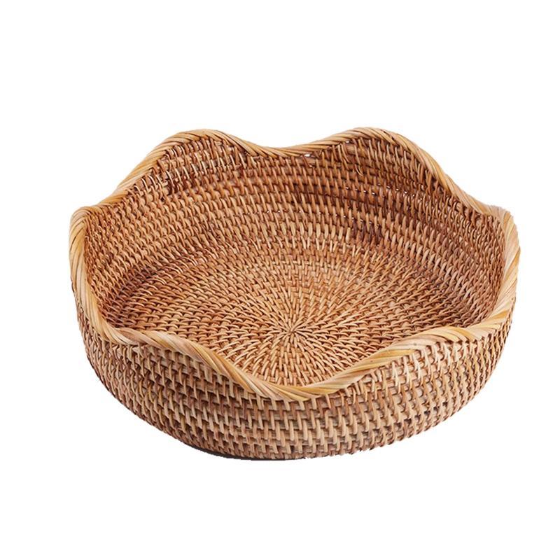 Ovale en osier tissé panier Corbeille à pain service panier, 10.2inch Panier de rangement pour l'alimentation de fruits cosmétiques et de stockage de table Bathro
