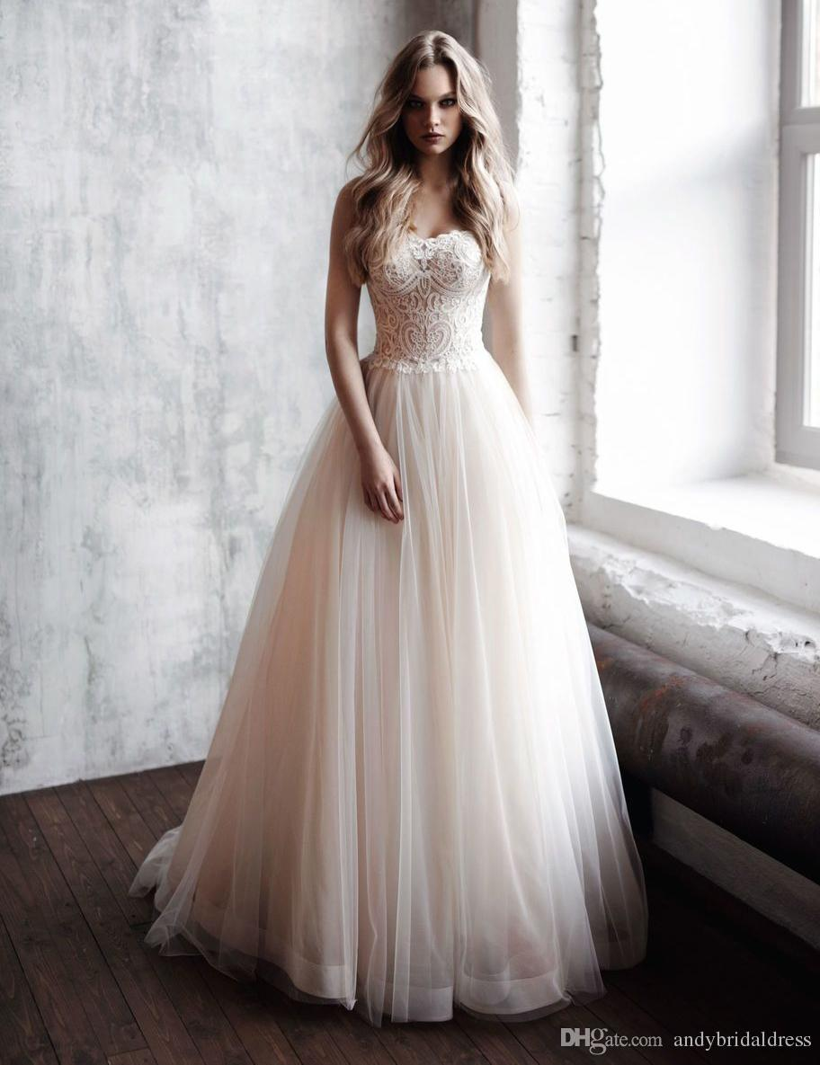 Discount Strapless Sweetheart Wedding Gowns A Line Bridal Dresses