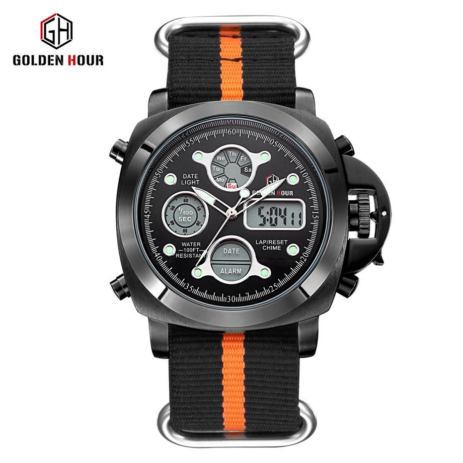 Reloj Hombre GOLDENHOUR im Freiensport-Uhr-Mann-Segeltuch-Bügel-Uhr-Auto Datumsanzeige Mann Armbanduhr Relogio Masculino