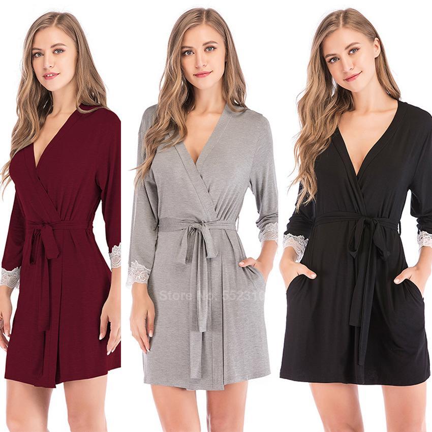 Damigella d'onore Robes per le donne sexy del merletto di cotone con scollo a V Lounge accappatoio con cintura confortevole Femminile casa Sleepwear Dressing T200420