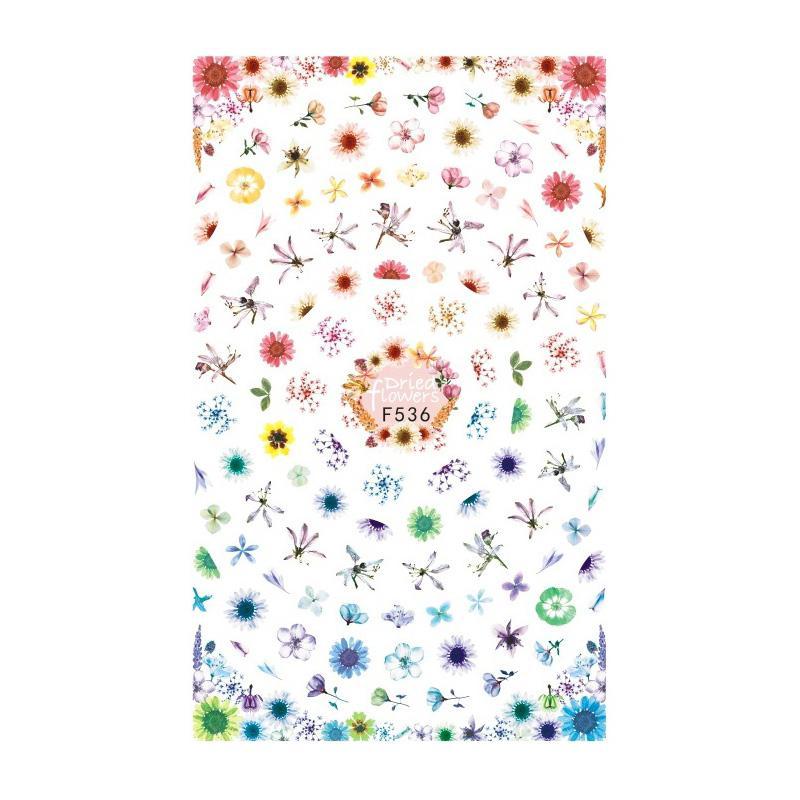 1 hoja de etiqueta engomada del arte del clavo patrón floral manicura DIY calcomanía accesorios para uñas V9-Drop