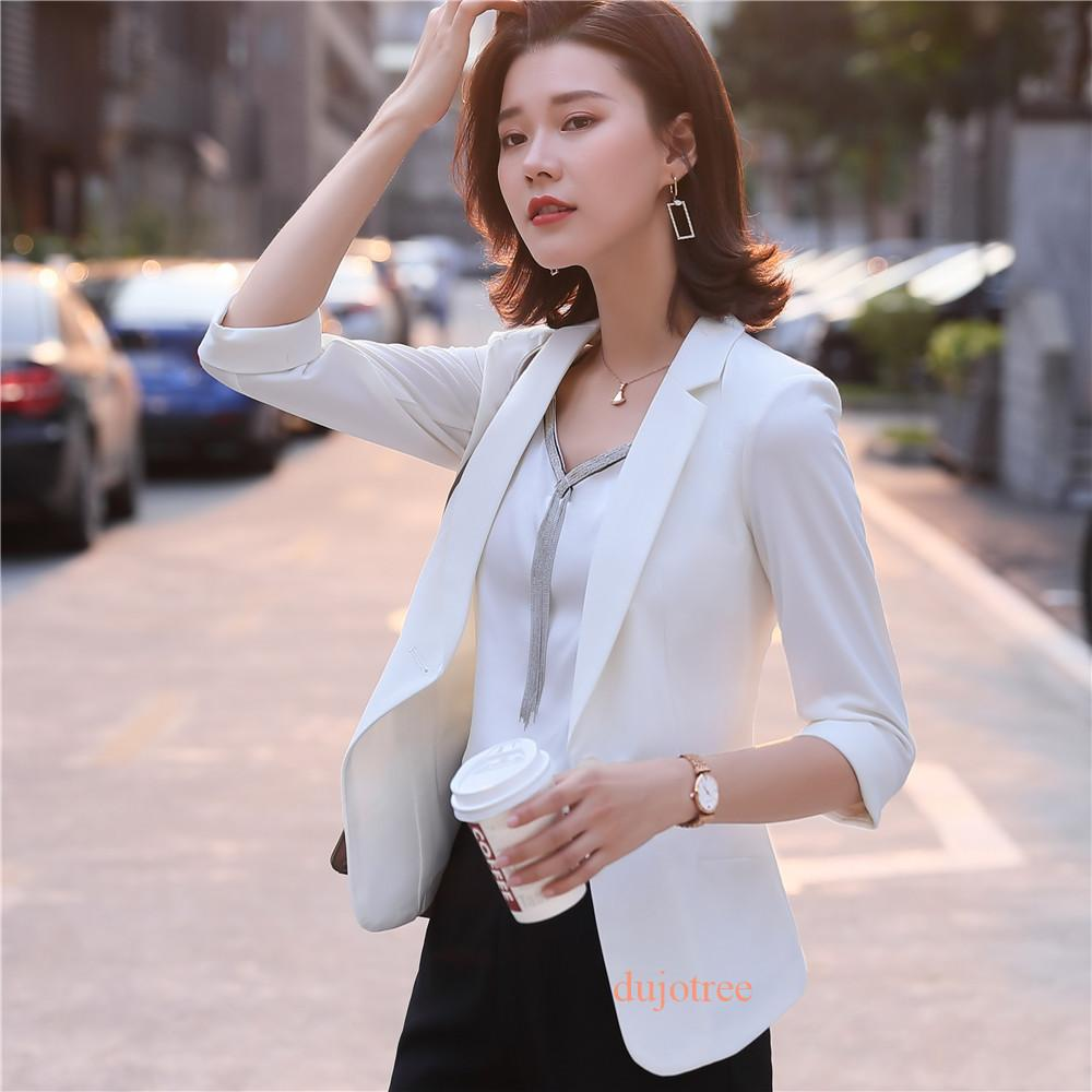 BS6082 Women Summer Blazer Single Button Office Ladies Half Sleeve Blazer Female Plus Size Office Formal Jacket