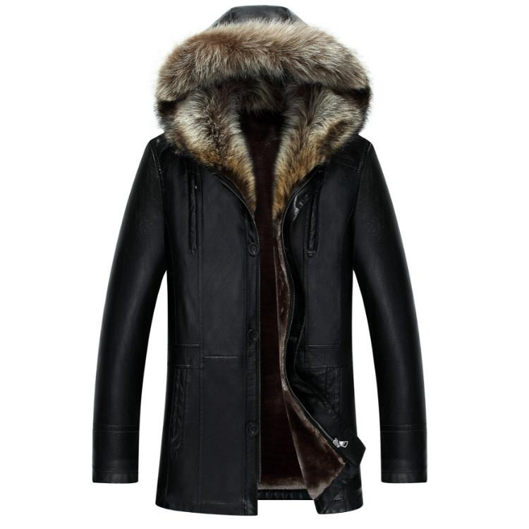 Mens Genuine Leather Jacket Winter Coats Real Raccoon Fur Collar Hooded Cashmere Tops Snow Outwear Overcoat Warm Thick Plus Size
